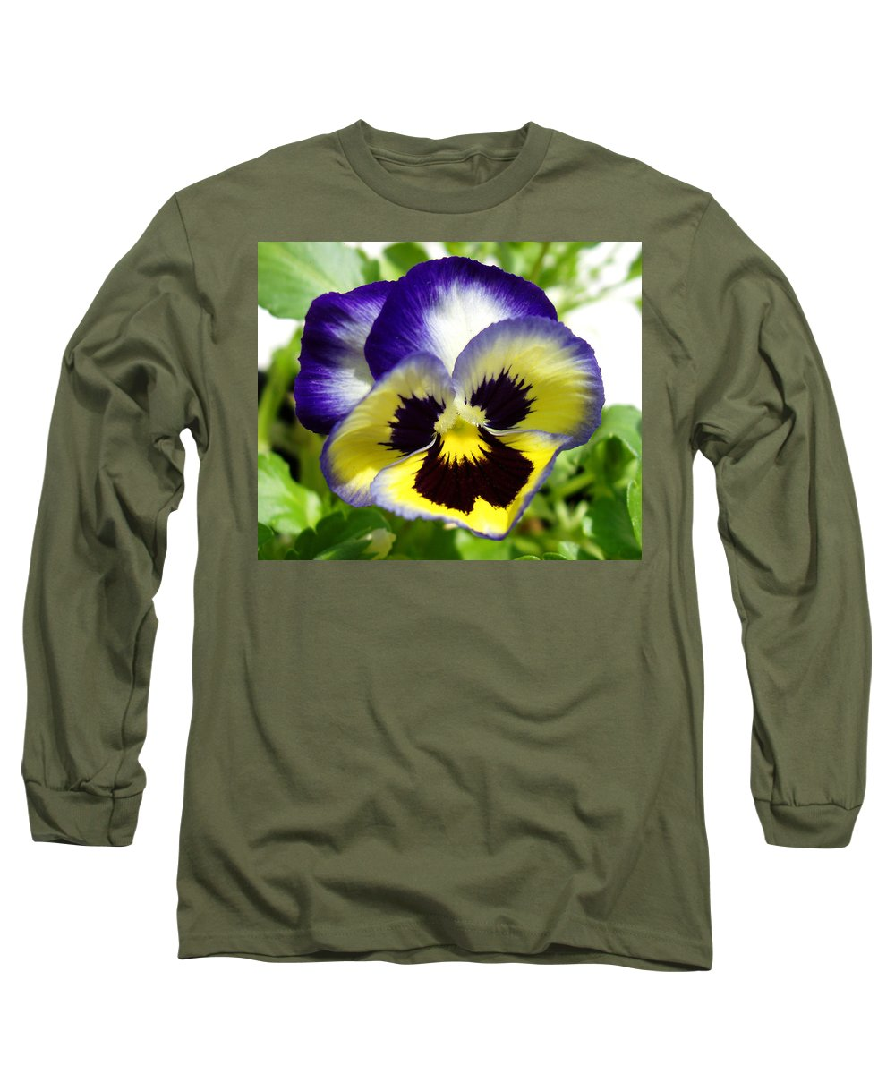 Pansy Long Sleeve T-Shirt featuring the photograph Purple White And Yellow Pansy by Nancy Mueller
