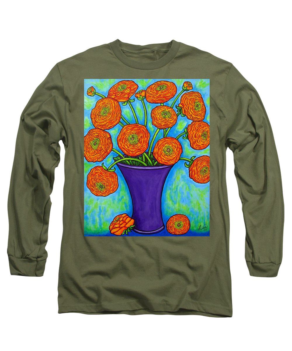Green Long Sleeve T-Shirt featuring the painting Radiant Ranunculus by Lisa Lorenz
