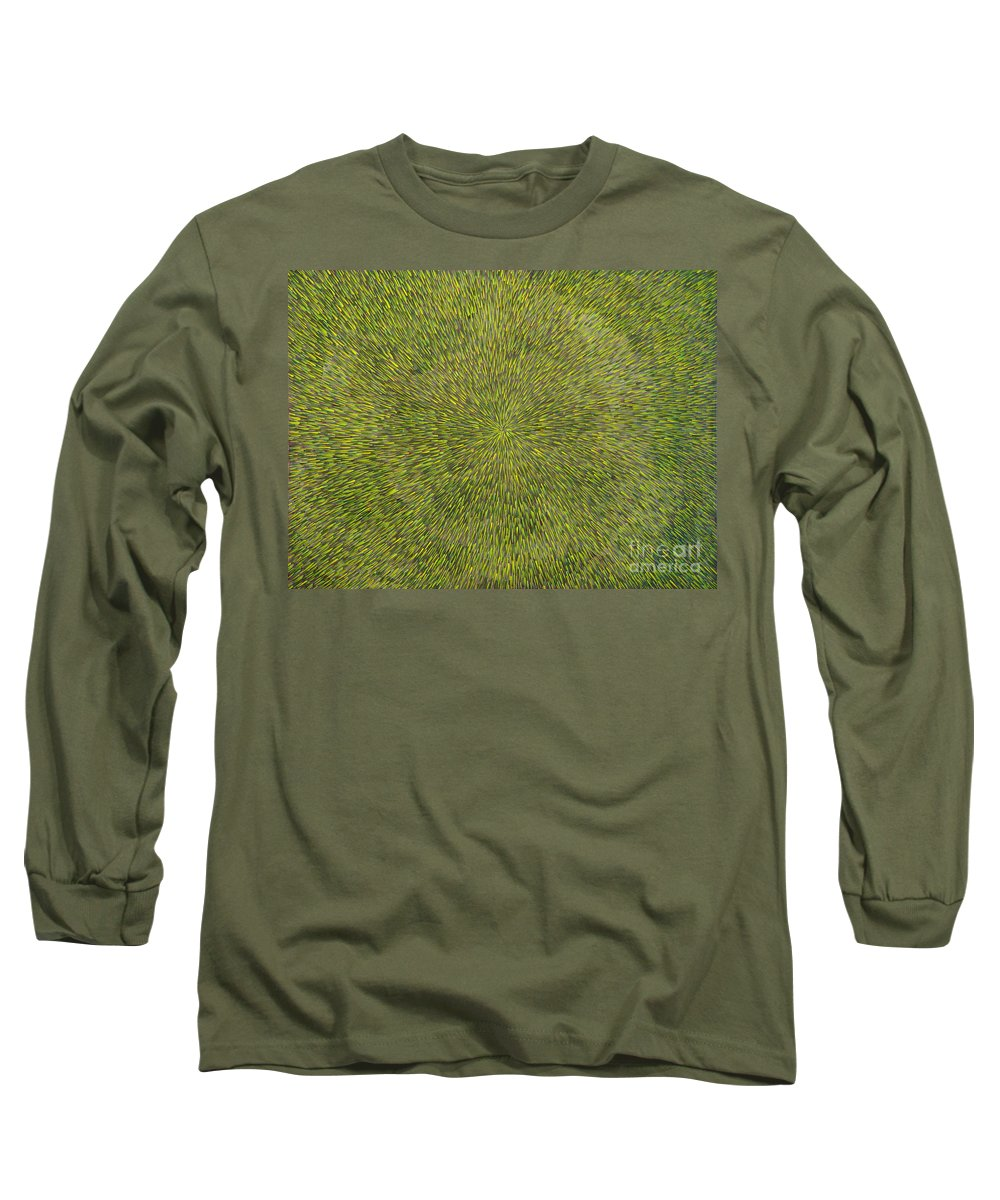 Abstract Long Sleeve T-Shirt featuring the painting Radiation With Green With Yellow by Dean Triolo