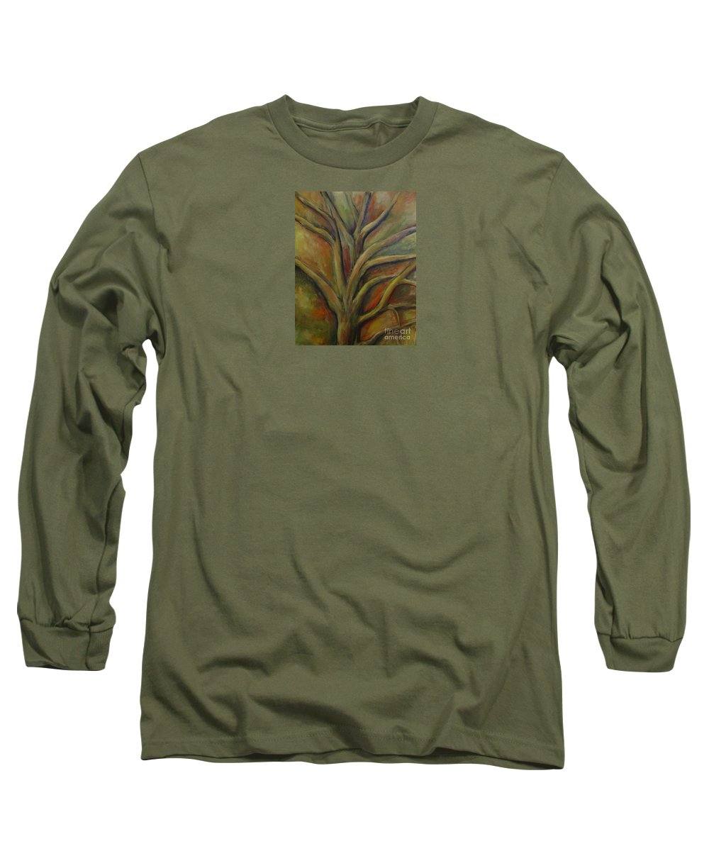 Tree Abstract Painting Expressionist Original Leila Atkinson Long Sleeve T-Shirt featuring the painting Rapt by Leila Atkinson