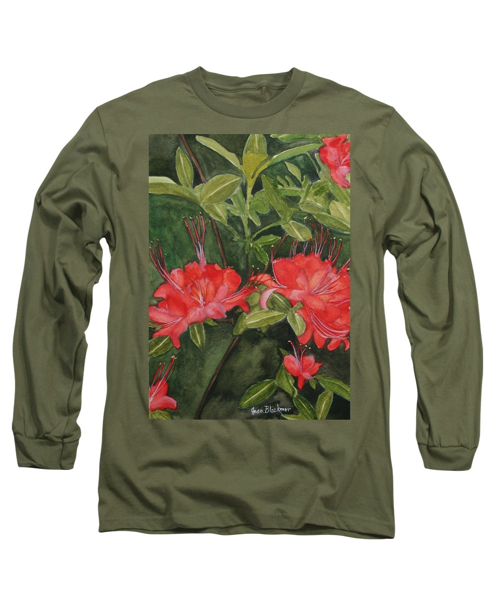 Flowers Long Sleeve T-Shirt featuring the painting Red Blooms On The Parkway by Jean Blackmer