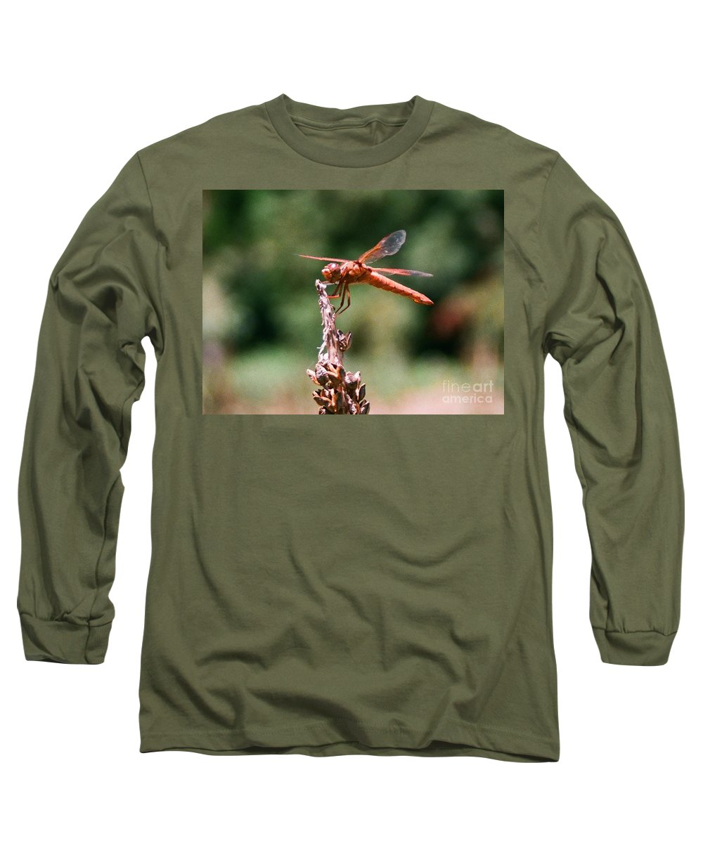 Dragonfly Long Sleeve T-Shirt featuring the photograph Red Dragonfly II by Dean Triolo