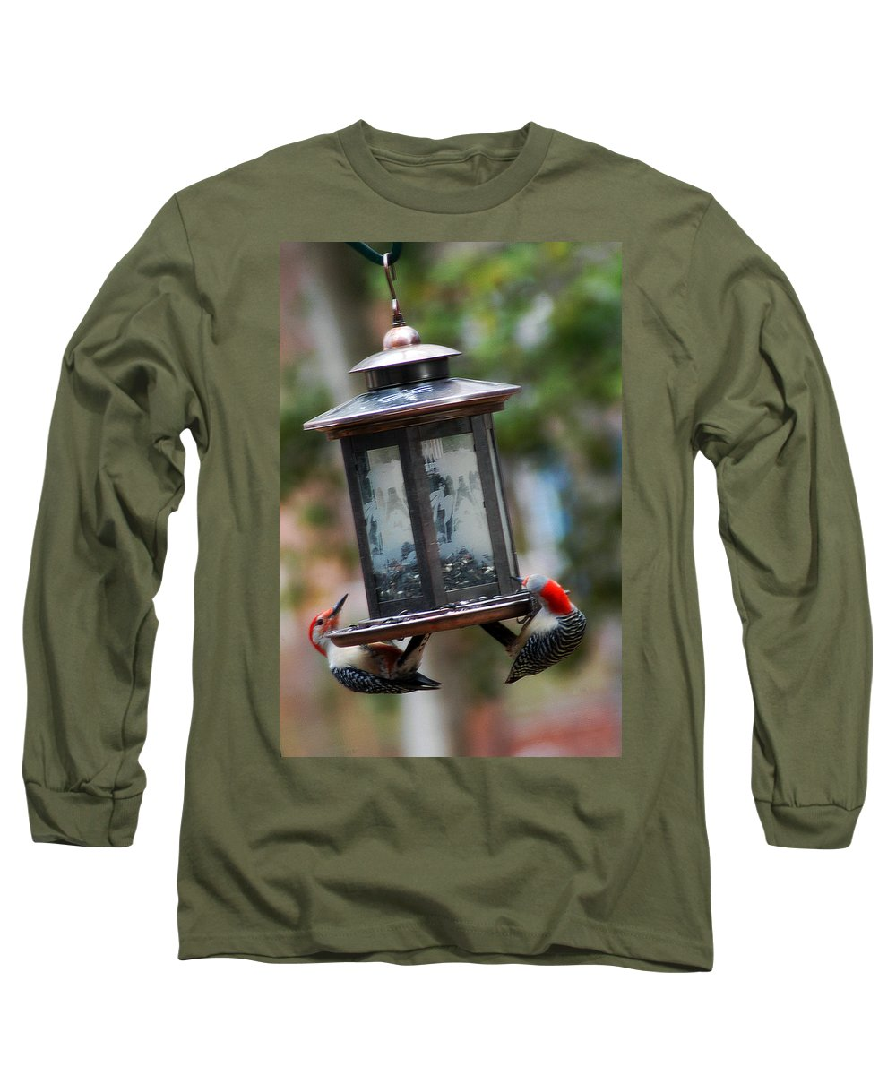 Clay Long Sleeve T-Shirt featuring the photograph Red Head Wood Peckers On Feeder by Clayton Bruster