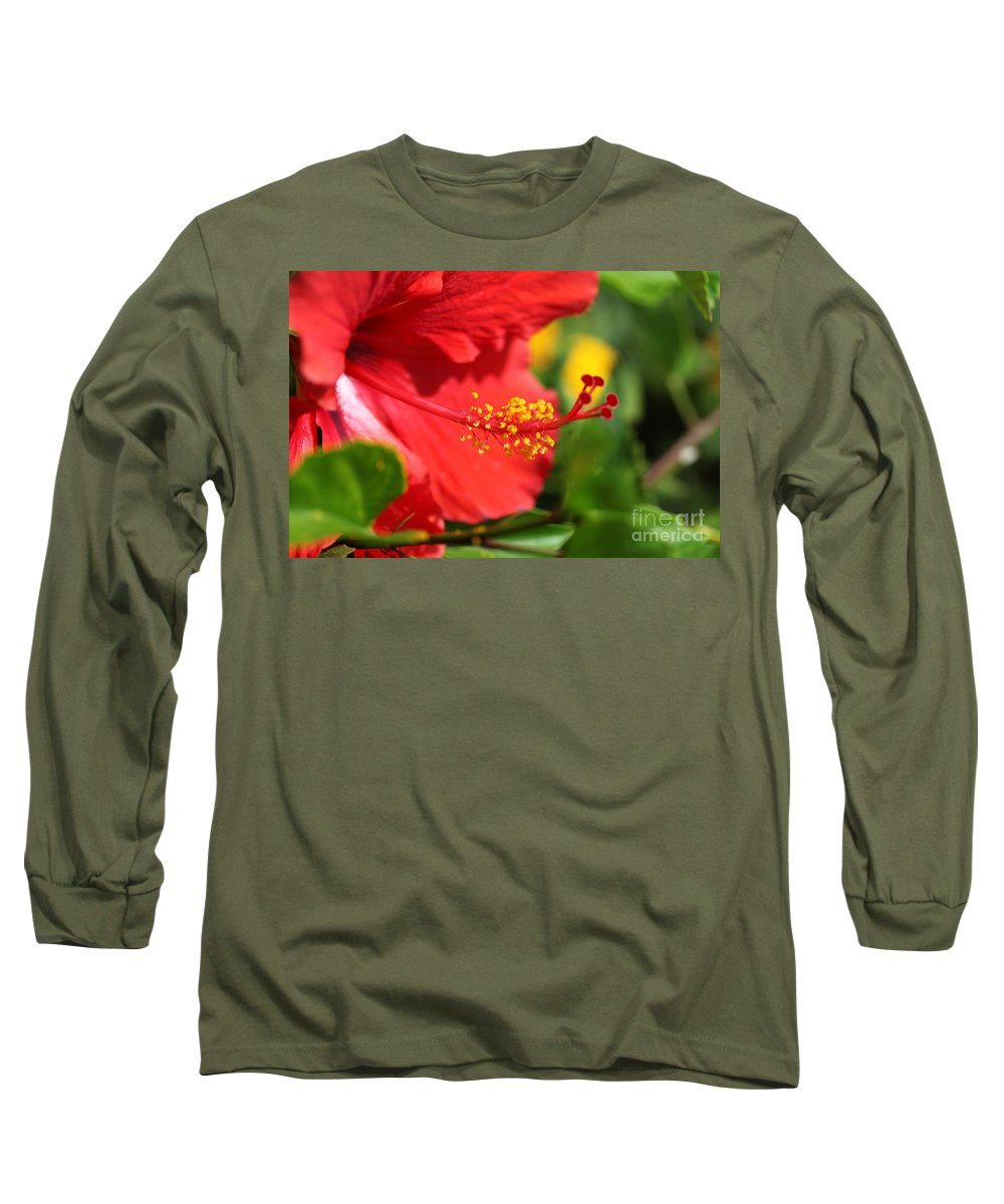 Flowers Long Sleeve T-Shirt featuring the photograph Red Hibiscus And Green by Nadine Rippelmeyer