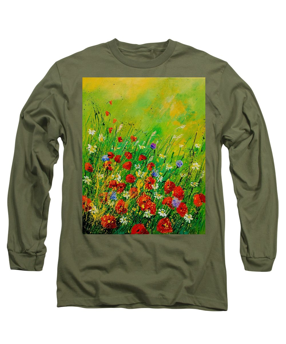 Flowers Long Sleeve T-Shirt featuring the painting Red Poppies 450708 by Pol Ledent