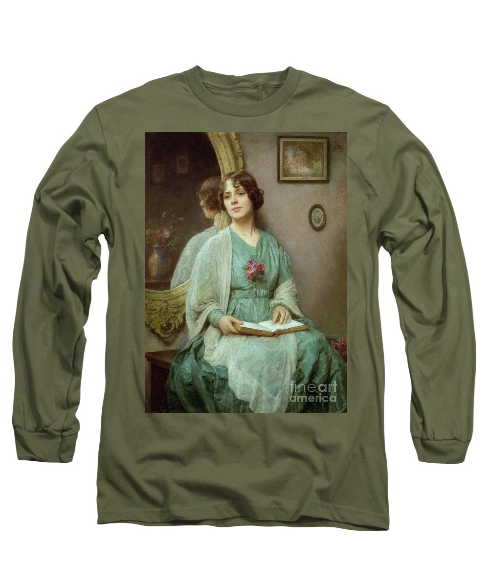 Reflections (oil On Canvas) By Ethel Porter Bailey (fl.1908-27) Long Sleeve T-Shirt featuring the painting Reflections by Ethel Porter Bailey