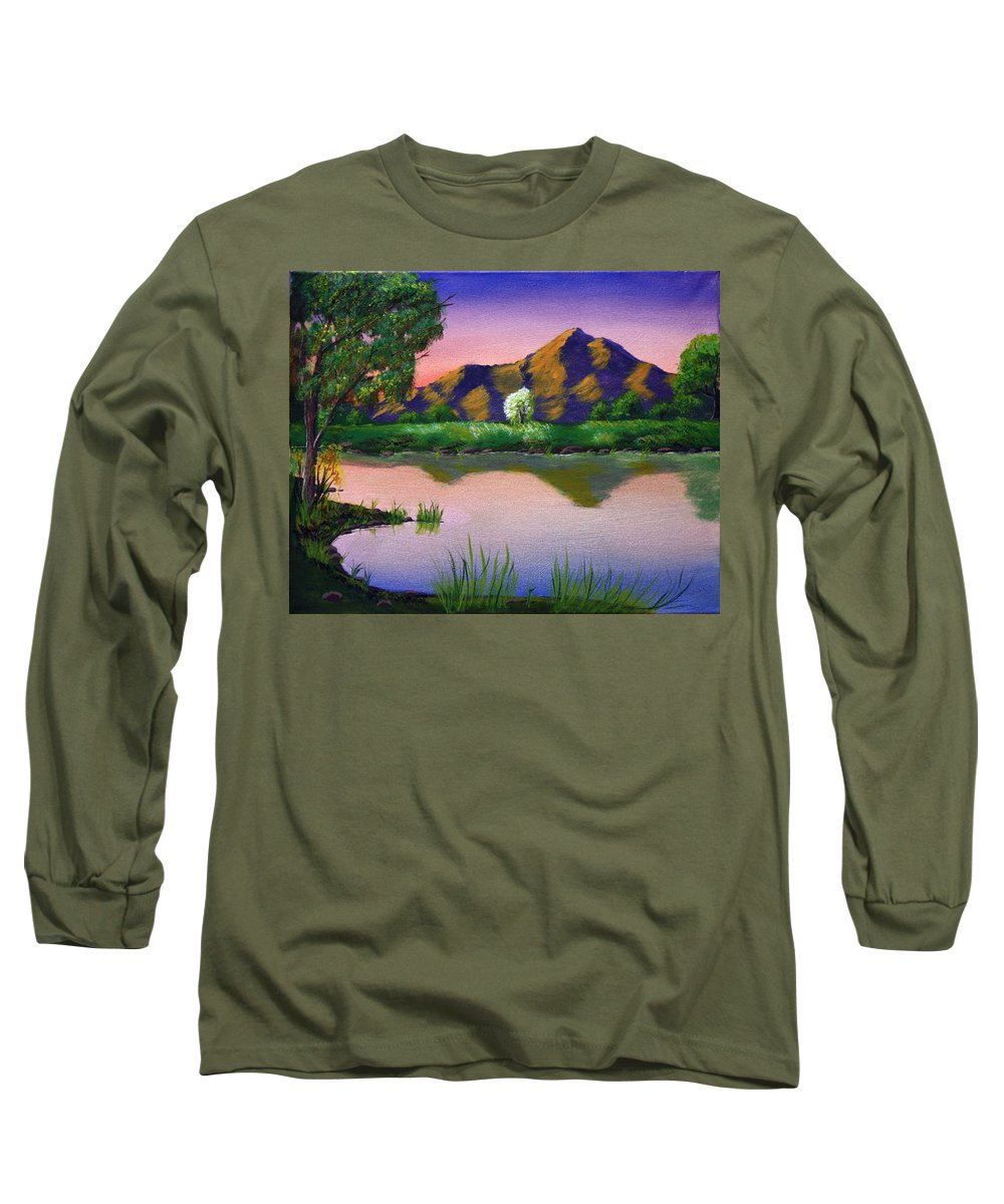 Landscape Long Sleeve T-Shirt featuring the painting Reflections In The Breeze by Dawn Blair