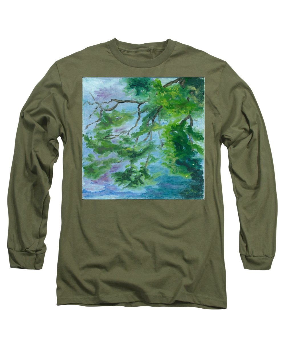Reflections Long Sleeve T-Shirt featuring the painting Reflections On The Mill Pond by Paula Emery