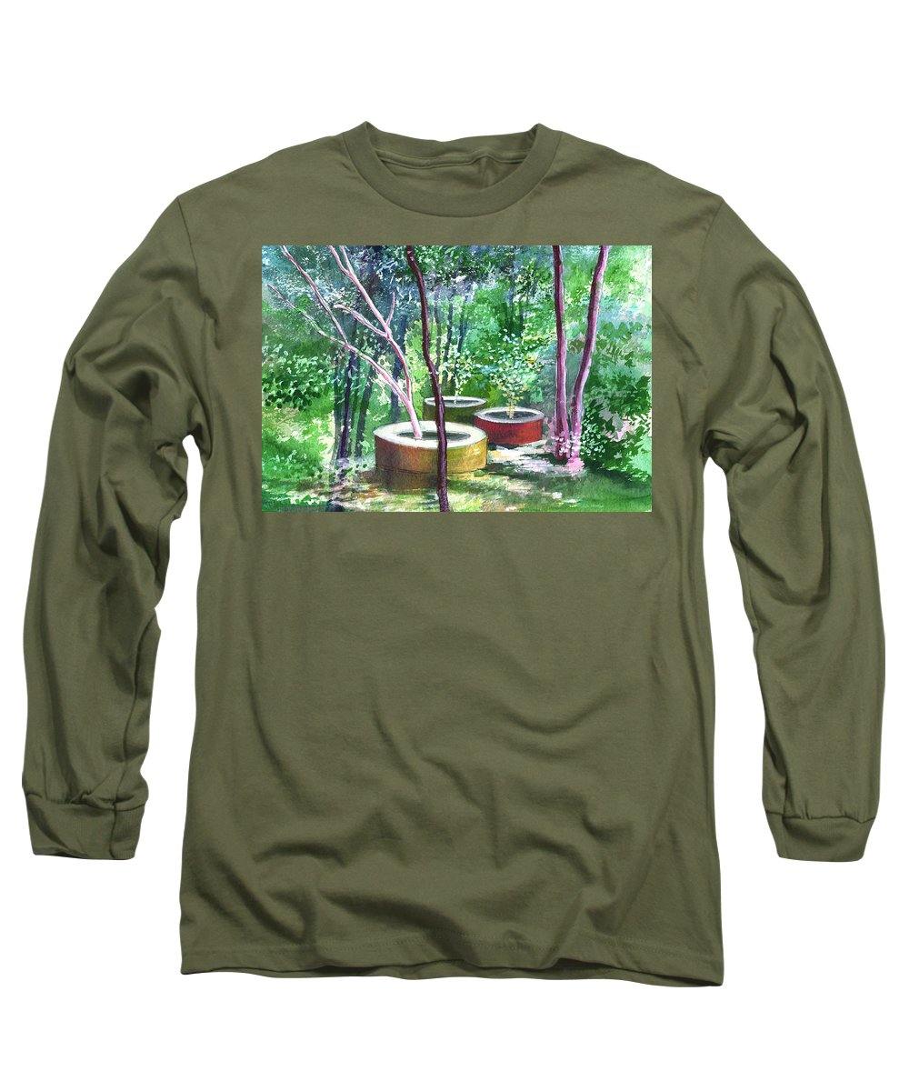 Opaque Landscape Long Sleeve T-Shirt featuring the painting Relax Here by Anil Nene