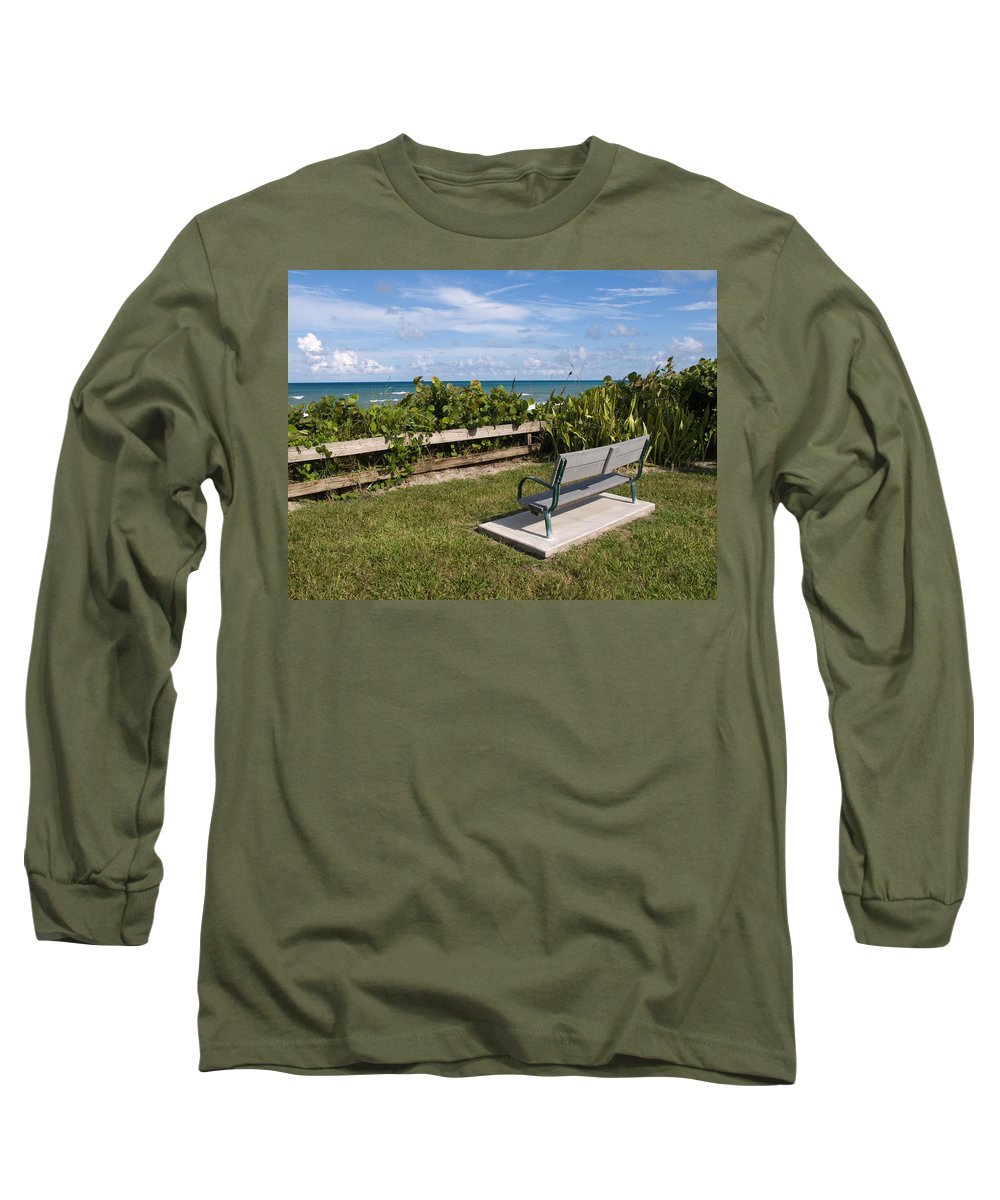 Bench; Public; Florida; Melbourne; Beach; Coast; Shore; Surf; Sand; Brevard; Space; Ocean; Sea; Atla Long Sleeve T-Shirt featuring the photograph Reserved For A Visitor To East Coast Florida by Allan Hughes