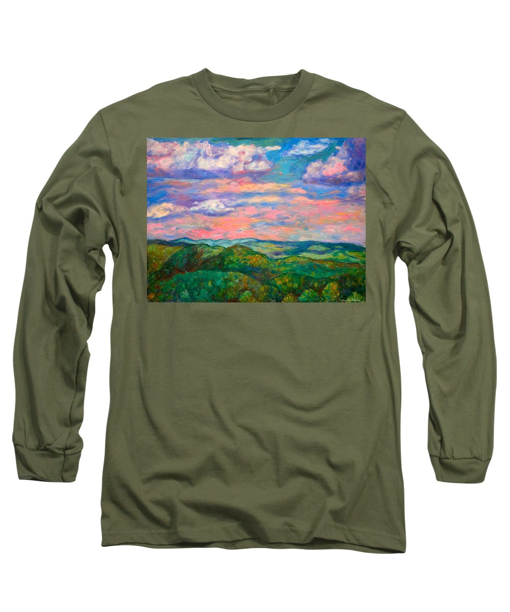 Landscape Paintings Long Sleeve T-Shirt featuring the painting Rock Castle Gorge by Kendall Kessler
