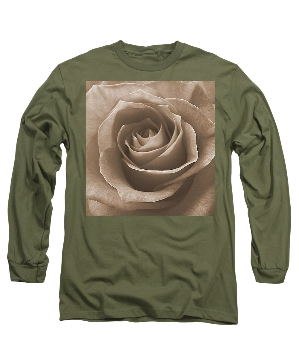 Rose Sepia Pedals Long Sleeve T-Shirt featuring the photograph Rose In Sepia by Luciana Seymour