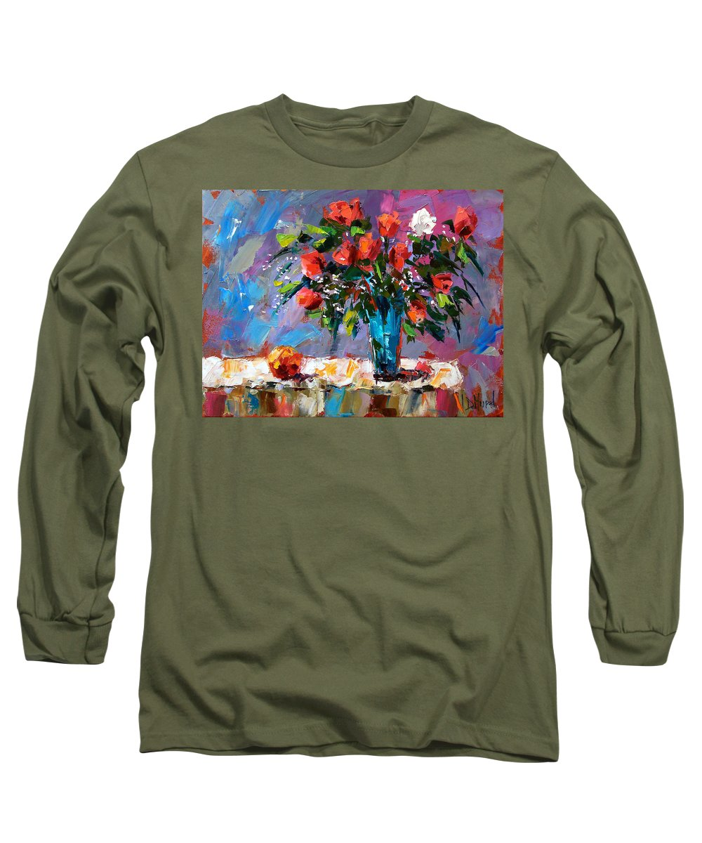 Flowers Long Sleeve T-Shirt featuring the painting Roses And A Peach by Debra Hurd