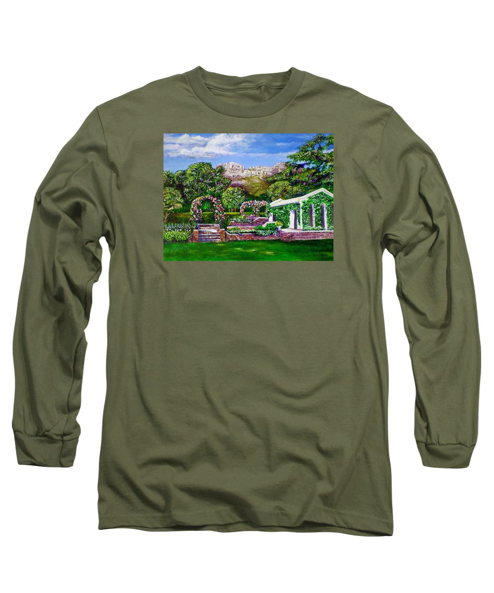 Landscape Long Sleeve T-Shirt featuring the painting Rozannes Garden by Michael Durst