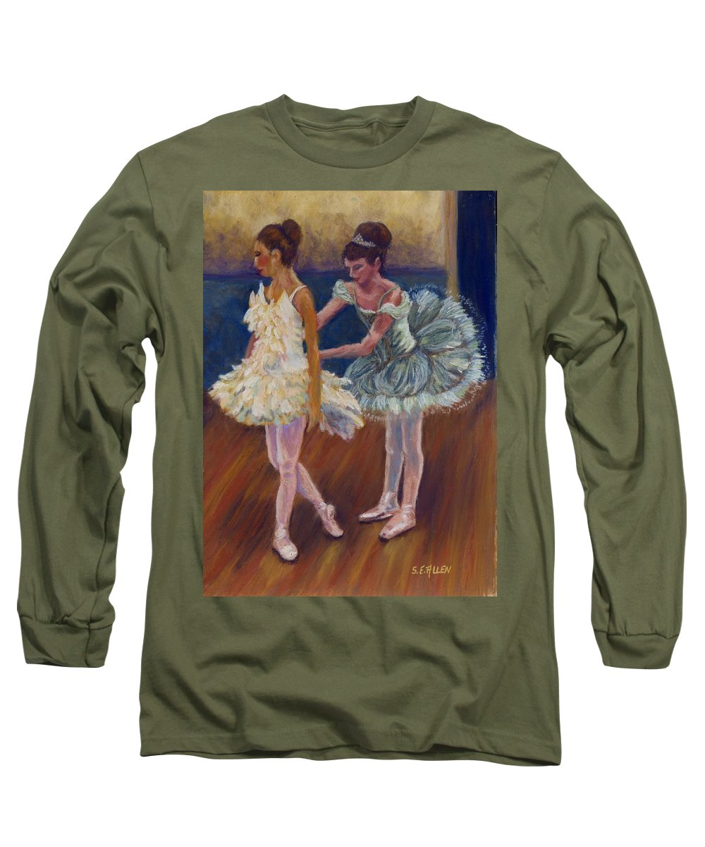 Ballerina Long Sleeve T-Shirt featuring the painting Ruffled Feathers by Sharon E Allen