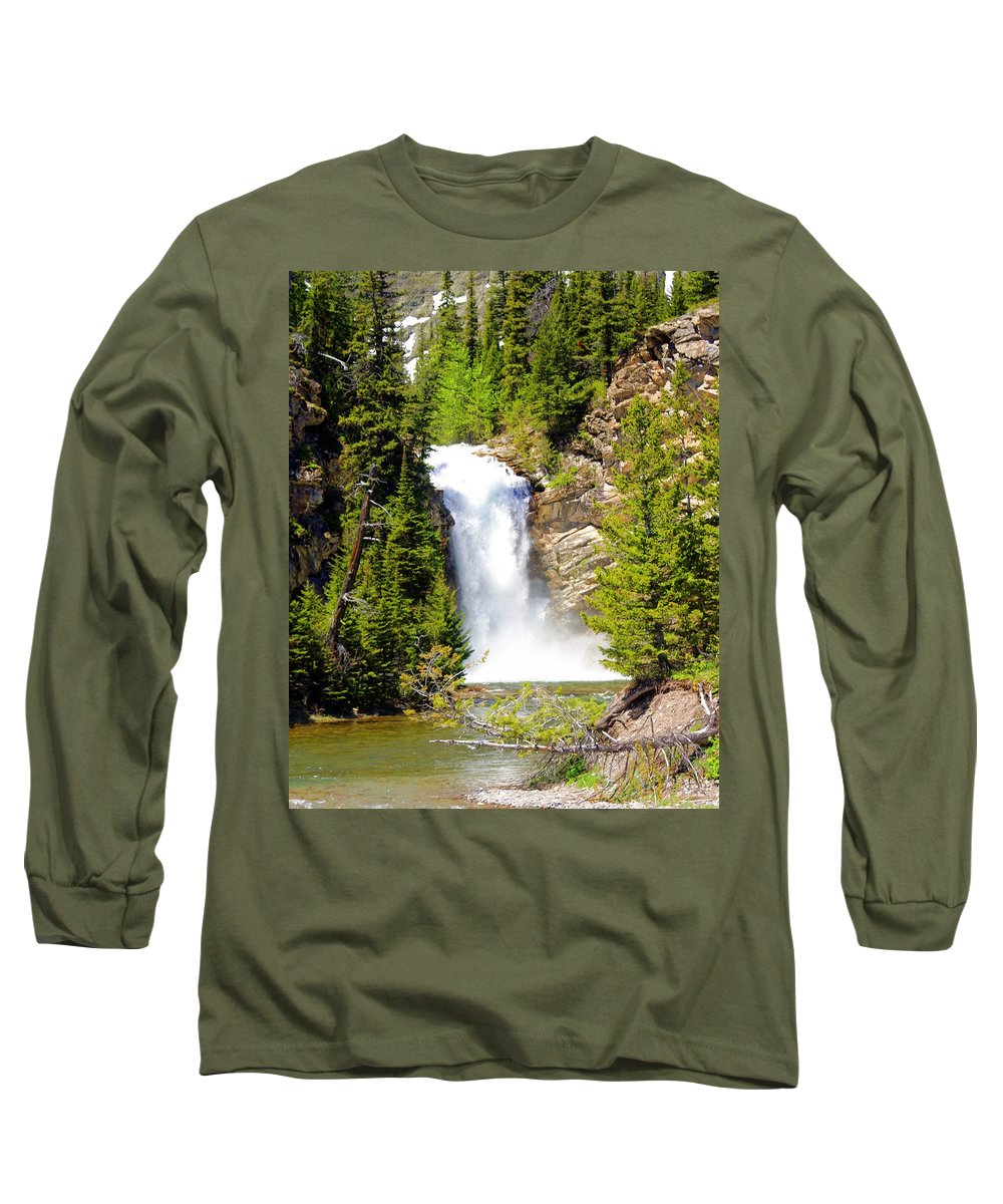 Waterfalls Long Sleeve T-Shirt featuring the photograph Running Eagle Falls by Marty Koch
