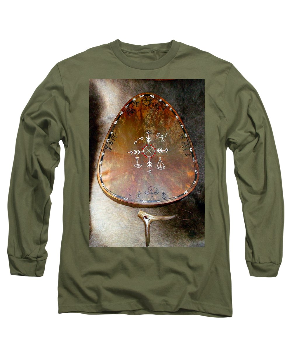 Saami Long Sleeve T-Shirt featuring the photograph Sami Shaman Drum by Merja Waters