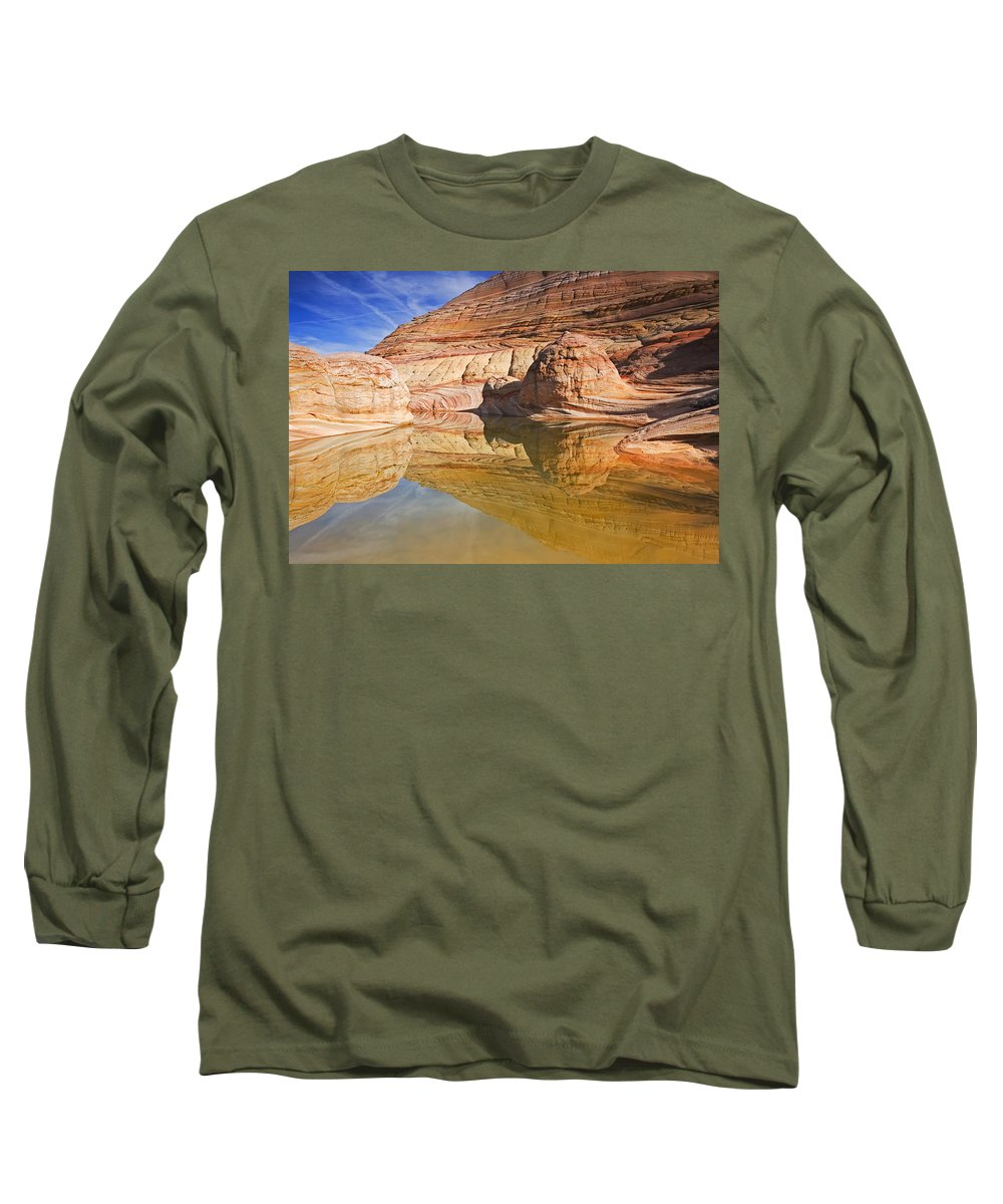 Pool Long Sleeve T-Shirt featuring the photograph Sandstone Illusions by Mike Dawson