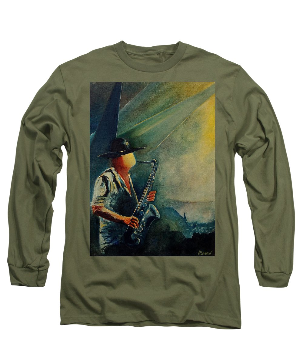 Music Long Sleeve T-Shirt featuring the painting Sax Player by Pol Ledent