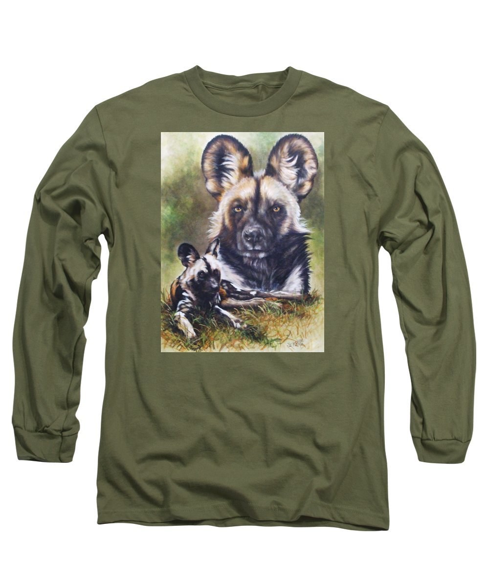 Wild Dogs Long Sleeve T-Shirt featuring the mixed media Scoundrel by Barbara Keith