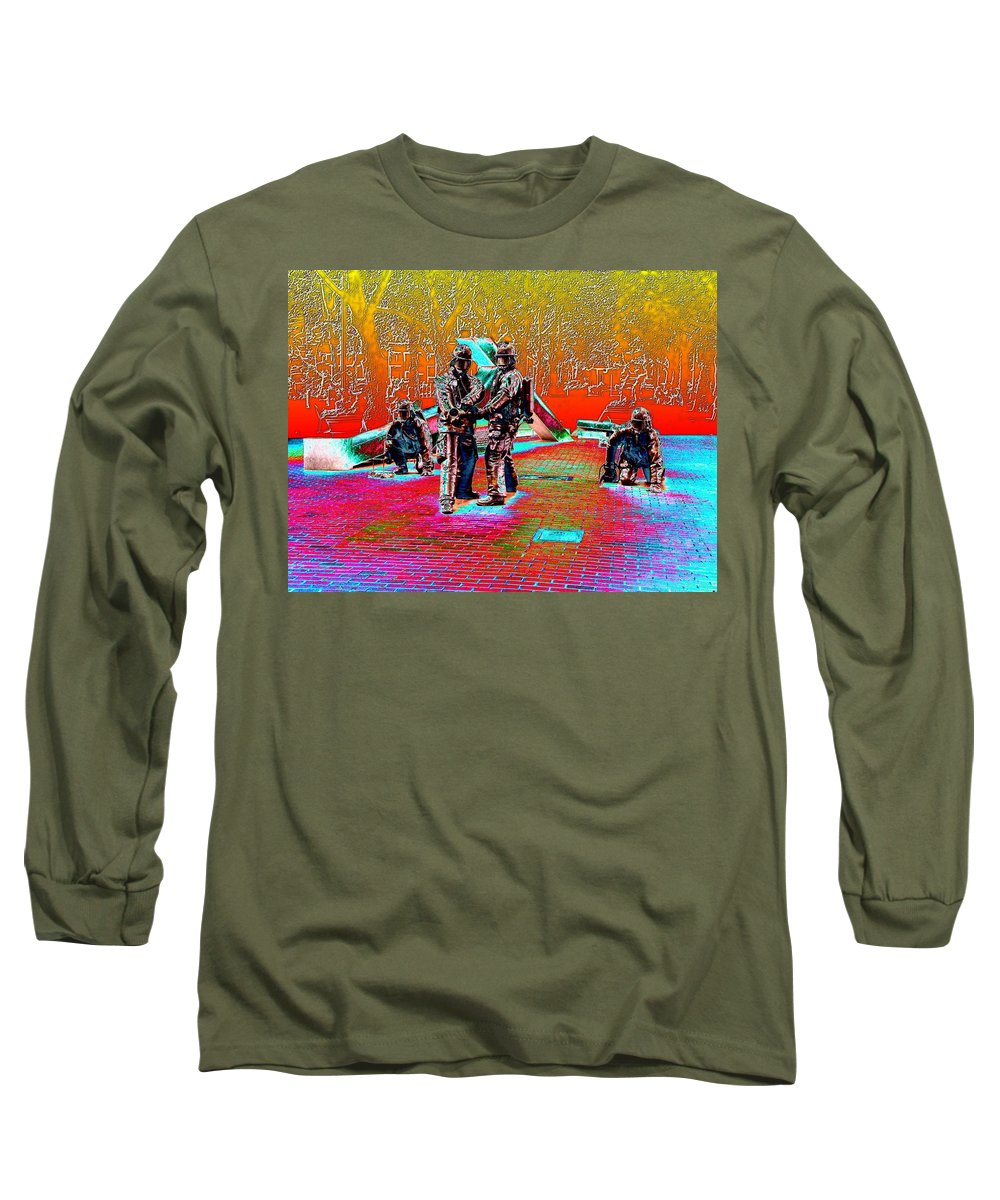 Seattle Long Sleeve T-Shirt featuring the digital art Seattle Fire Fighter Memorial by Tim Allen