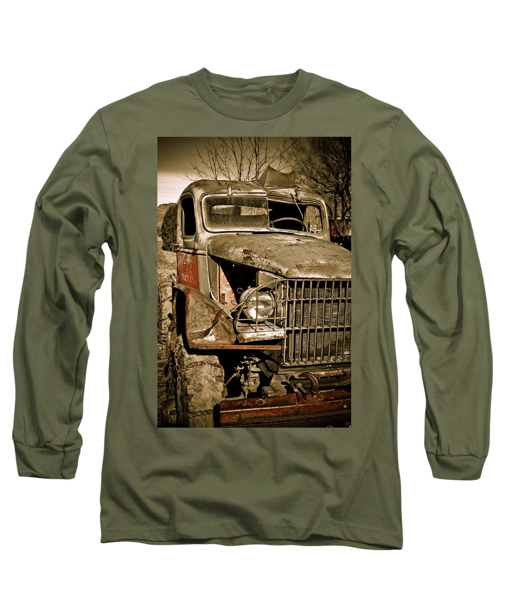 Old Vintage Antique Truck Worn Western Long Sleeve T-Shirt featuring the photograph Seen Better Days by Marilyn Hunt