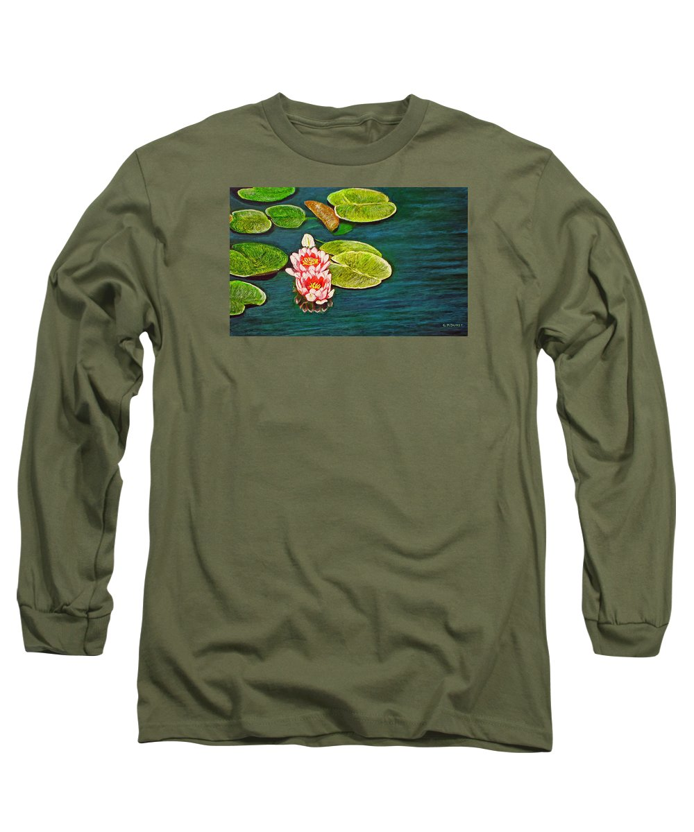 Water Lily Long Sleeve T-Shirt featuring the painting Serenity by Michael Durst