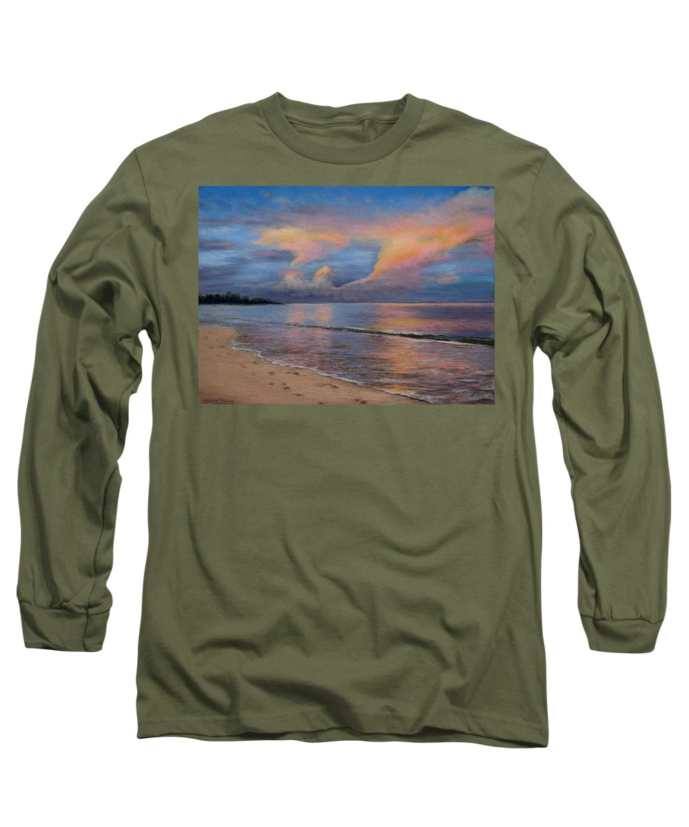Landscape Long Sleeve T-Shirt featuring the pastel Shore Of Solitude by Susan Jenkins