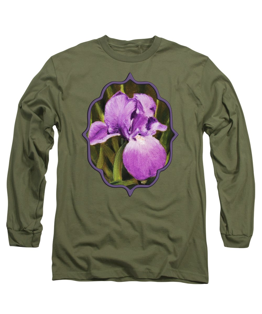 Plant Long Sleeve T-Shirt featuring the painting Single Iris by Anastasiya Malakhova