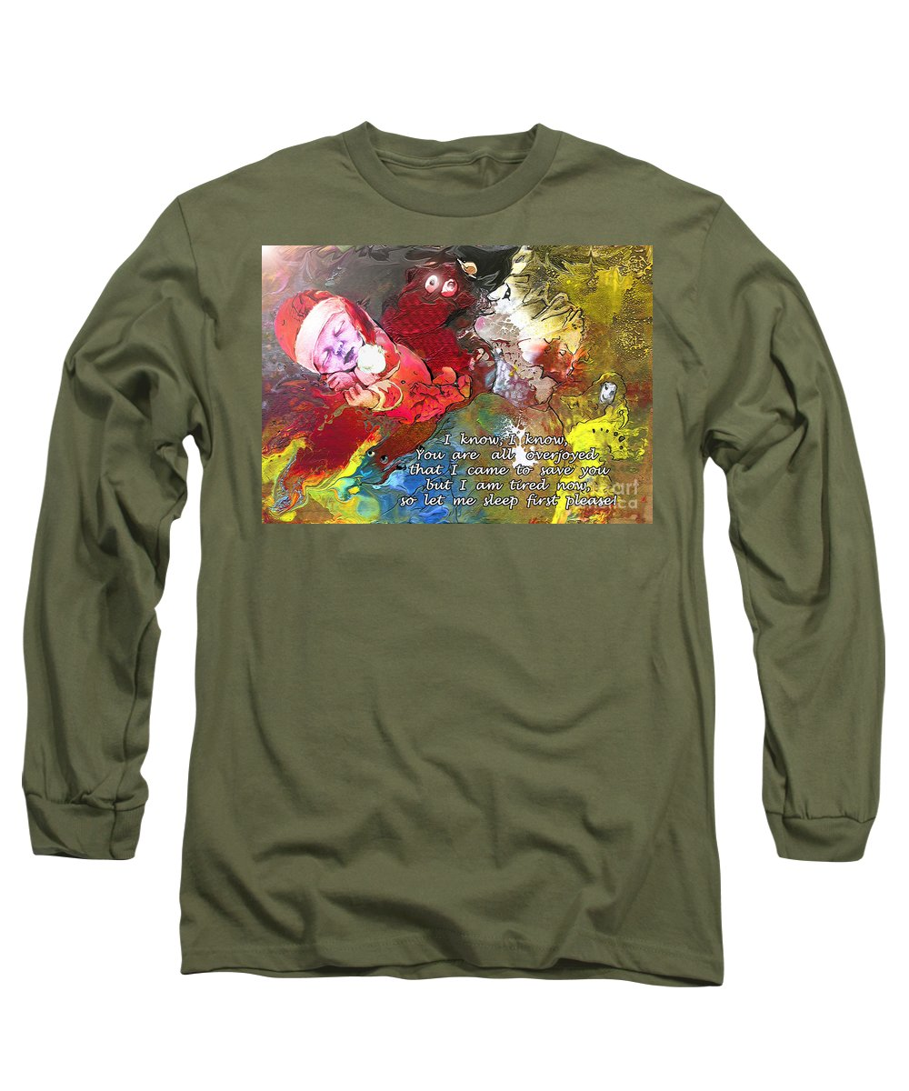 Messiah Painting Long Sleeve T-Shirt featuring the painting Sleepig Messiah by Miki De Goodaboom