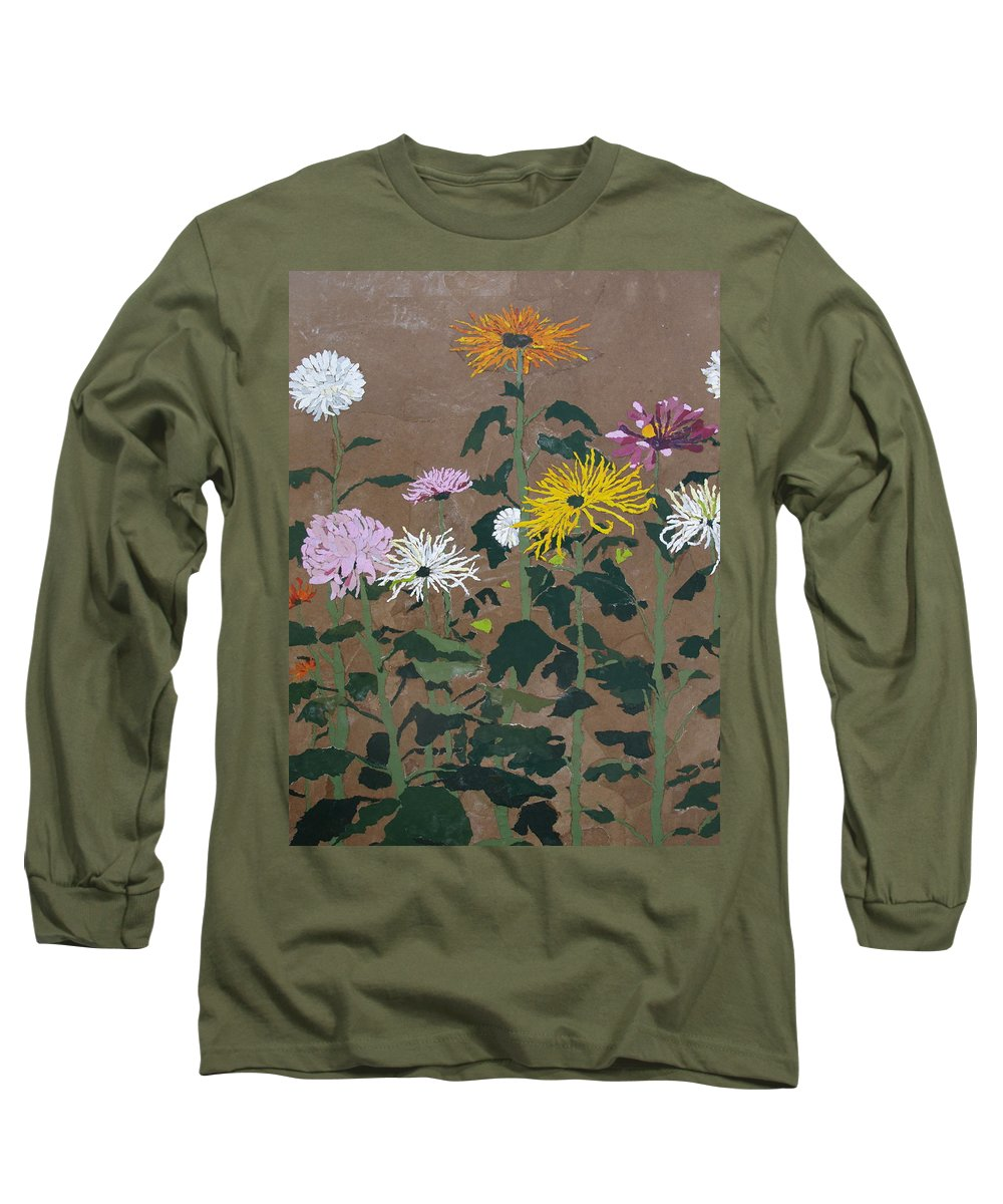 Collage Long Sleeve T-Shirt featuring the painting Smith's Giant Chrysanthemums by Leah Tomaino