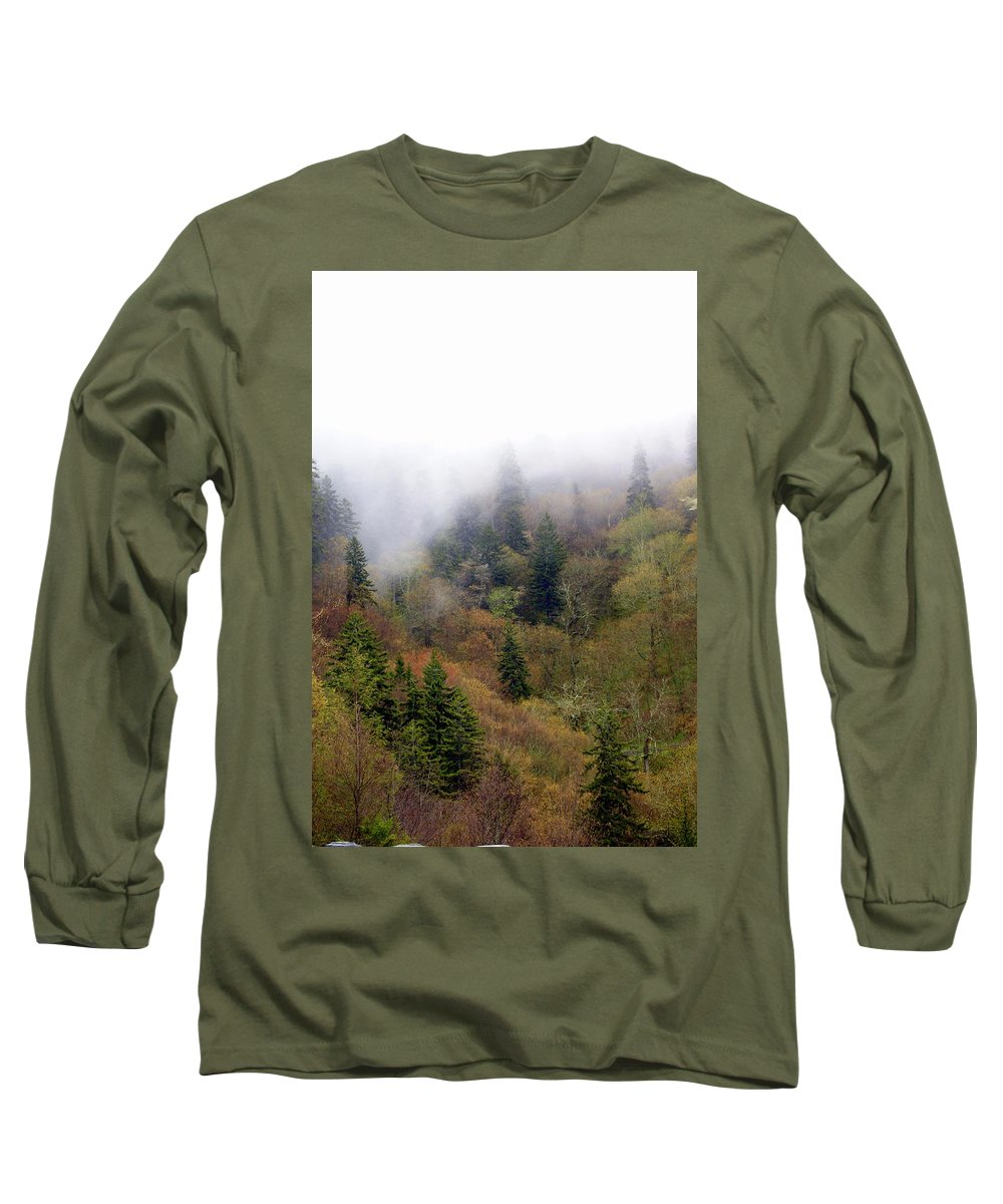 Fog Long Sleeve T-Shirt featuring the photograph Smoky Mount Vertical by Marty Koch