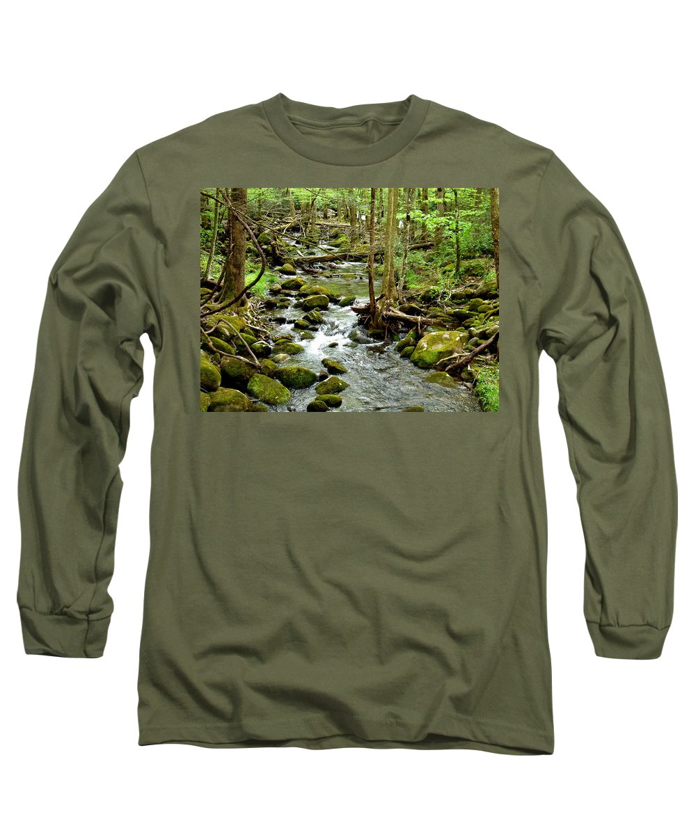 Smoky Mountains Long Sleeve T-Shirt featuring the photograph Smoky Mountain Stream 1 by Nancy Mueller