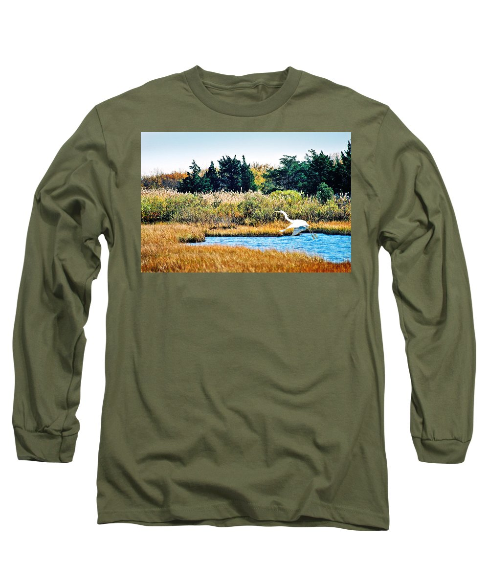 Landscape Long Sleeve T-Shirt featuring the photograph Snowy Egret-island Beach State Park N.j. by Steve Karol