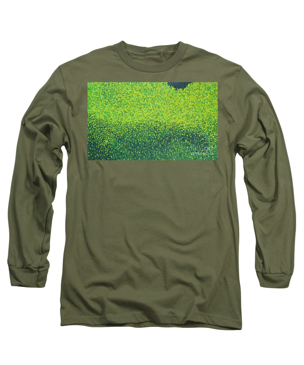 Abstract Long Sleeve T-Shirt featuring the painting Soft Green Wet Trees by Dean Triolo