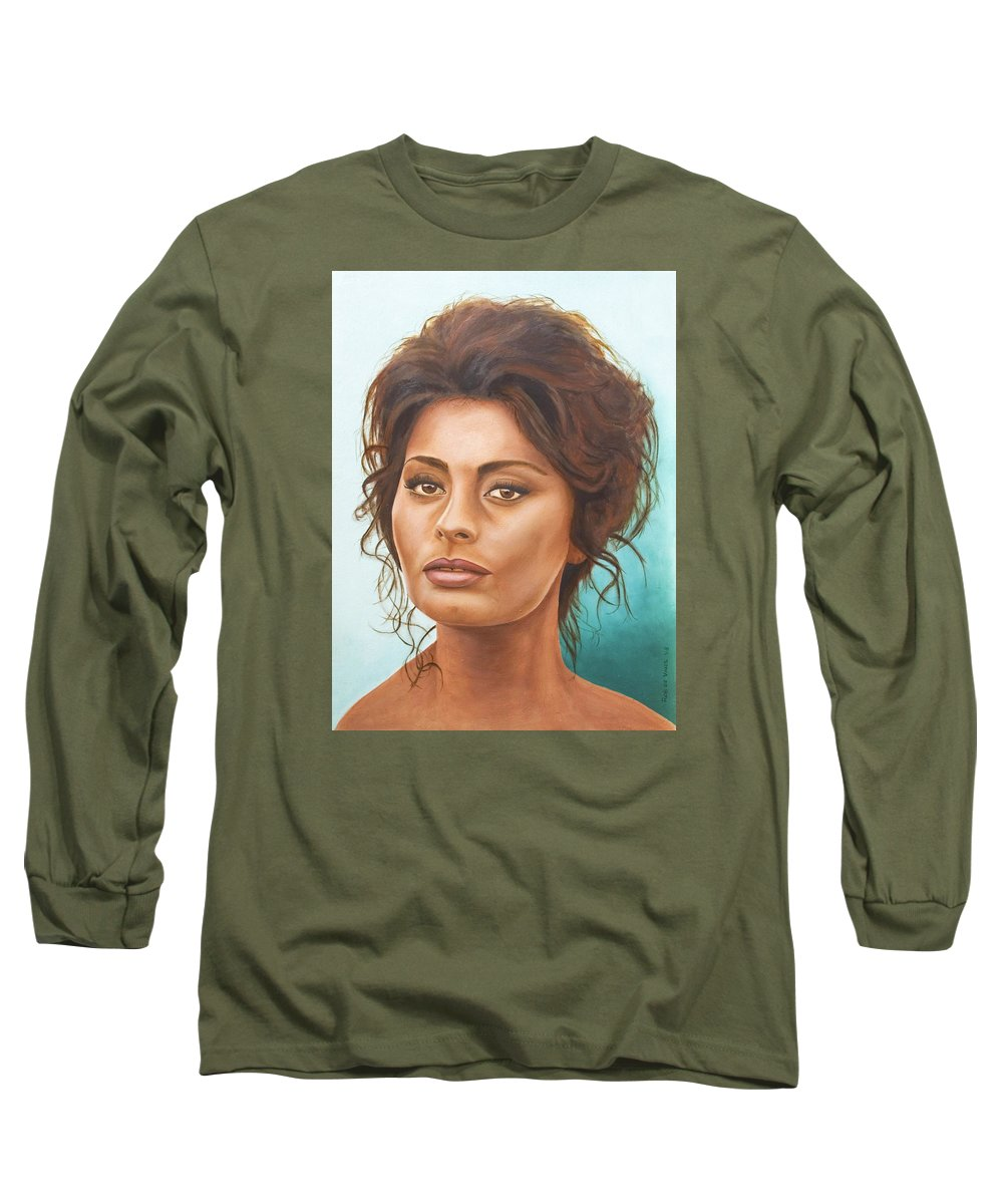 Moviestar Long Sleeve T-Shirt featuring the painting Sophia Loren by Rob De Vries