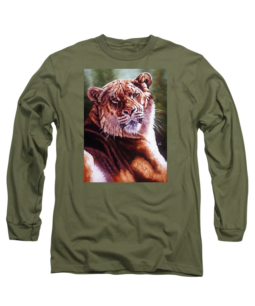 Hybrid Long Sleeve T-Shirt featuring the painting Sophie The Liger by Barbara Keith