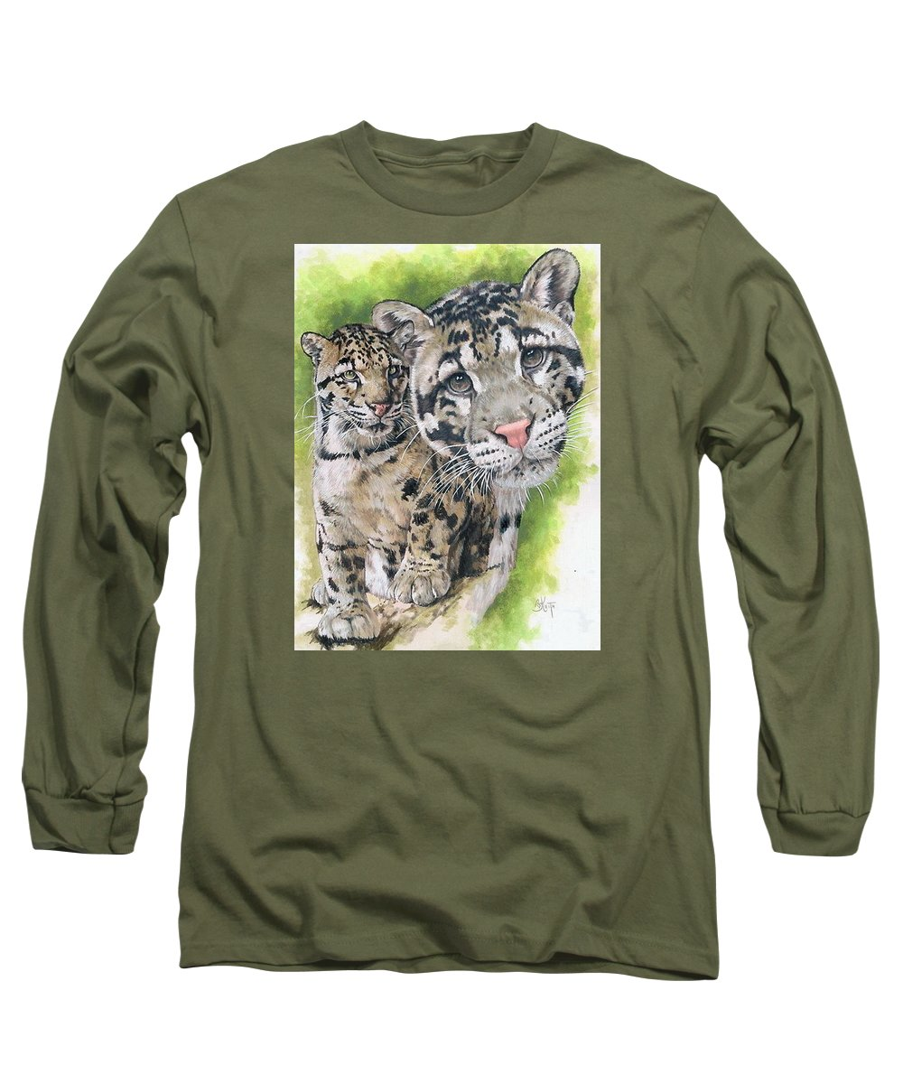 Clouded Leopard Long Sleeve T-Shirt featuring the mixed media Sovereignty by Barbara Keith