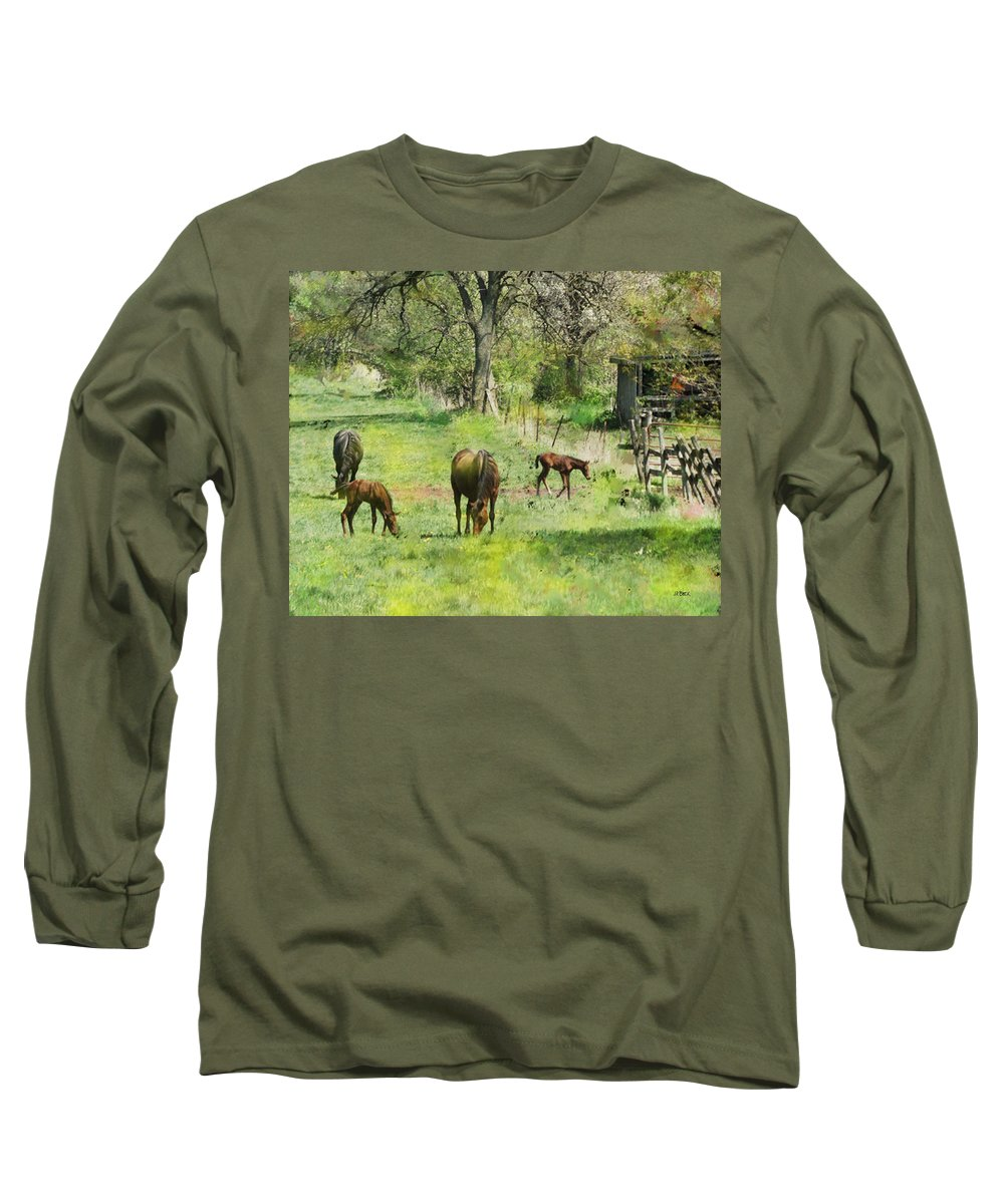 Spring Colts Long Sleeve T-Shirt featuring the digital art Spring Colts by John Beck