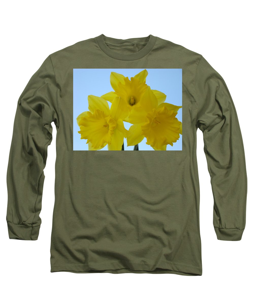 �daffodils Artwork� Long Sleeve T-Shirt featuring the photograph Spring Daffodils 2 Flowers Art Prints Gifts Blue Sky by Baslee Troutman