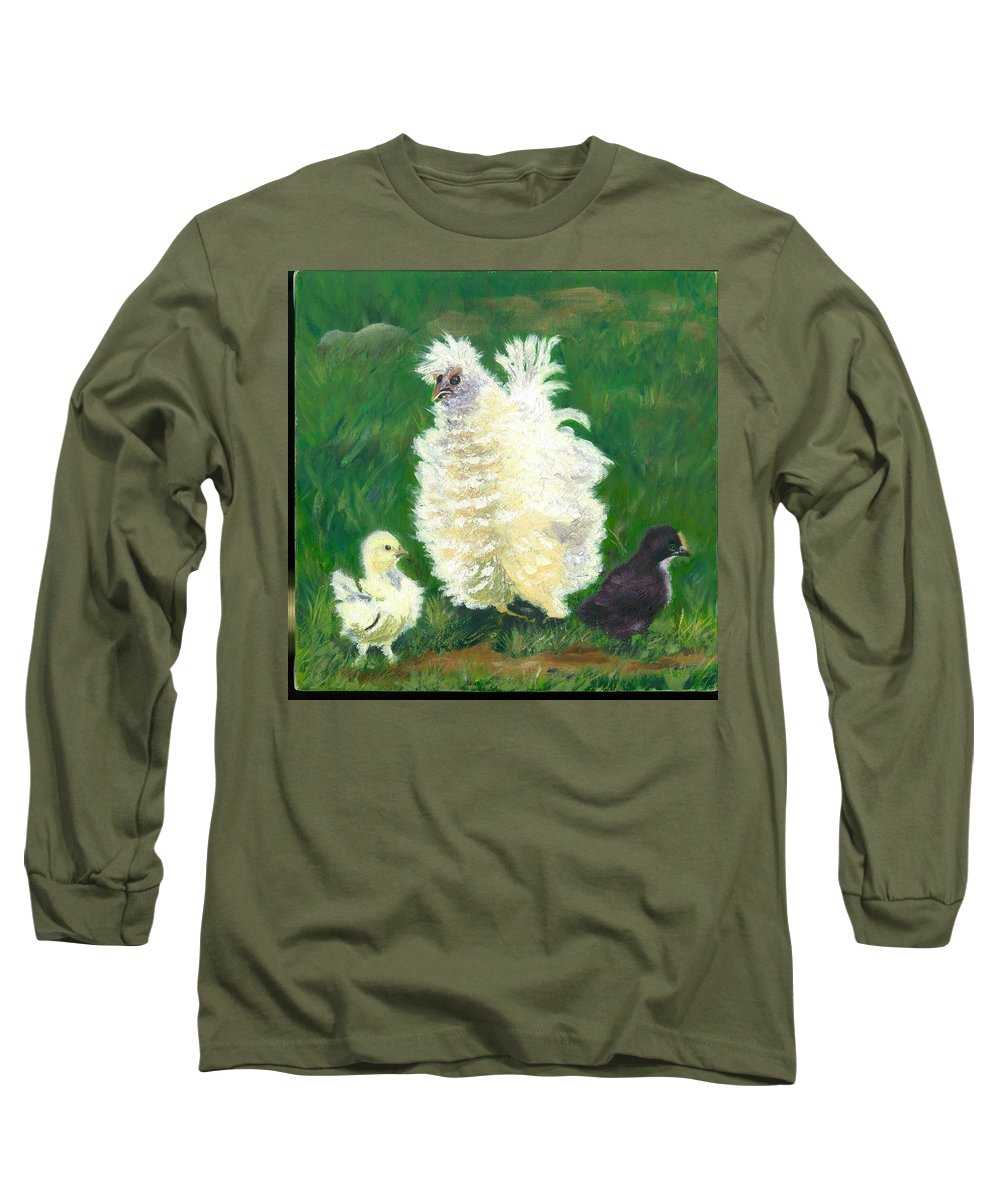 Bantam Frizzle Farmscene Chickens Hen Bird Nature Animals Spring Freerangers Long Sleeve T-Shirt featuring the painting Squiggle by Paula Emery