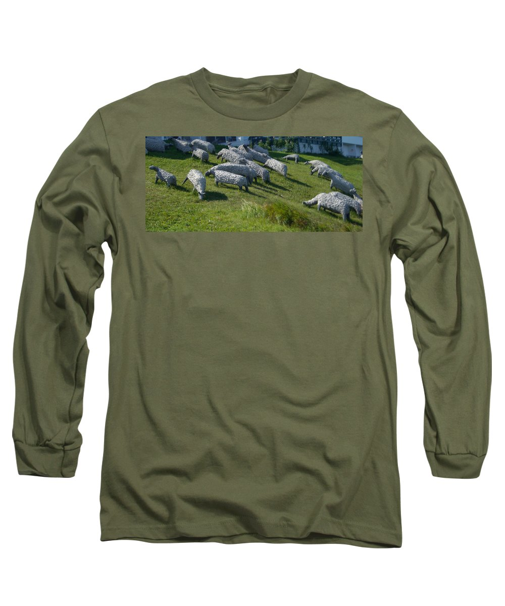 Sheep Long Sleeve T-Shirt featuring the photograph Ste Flavie 002 by Line Gagne