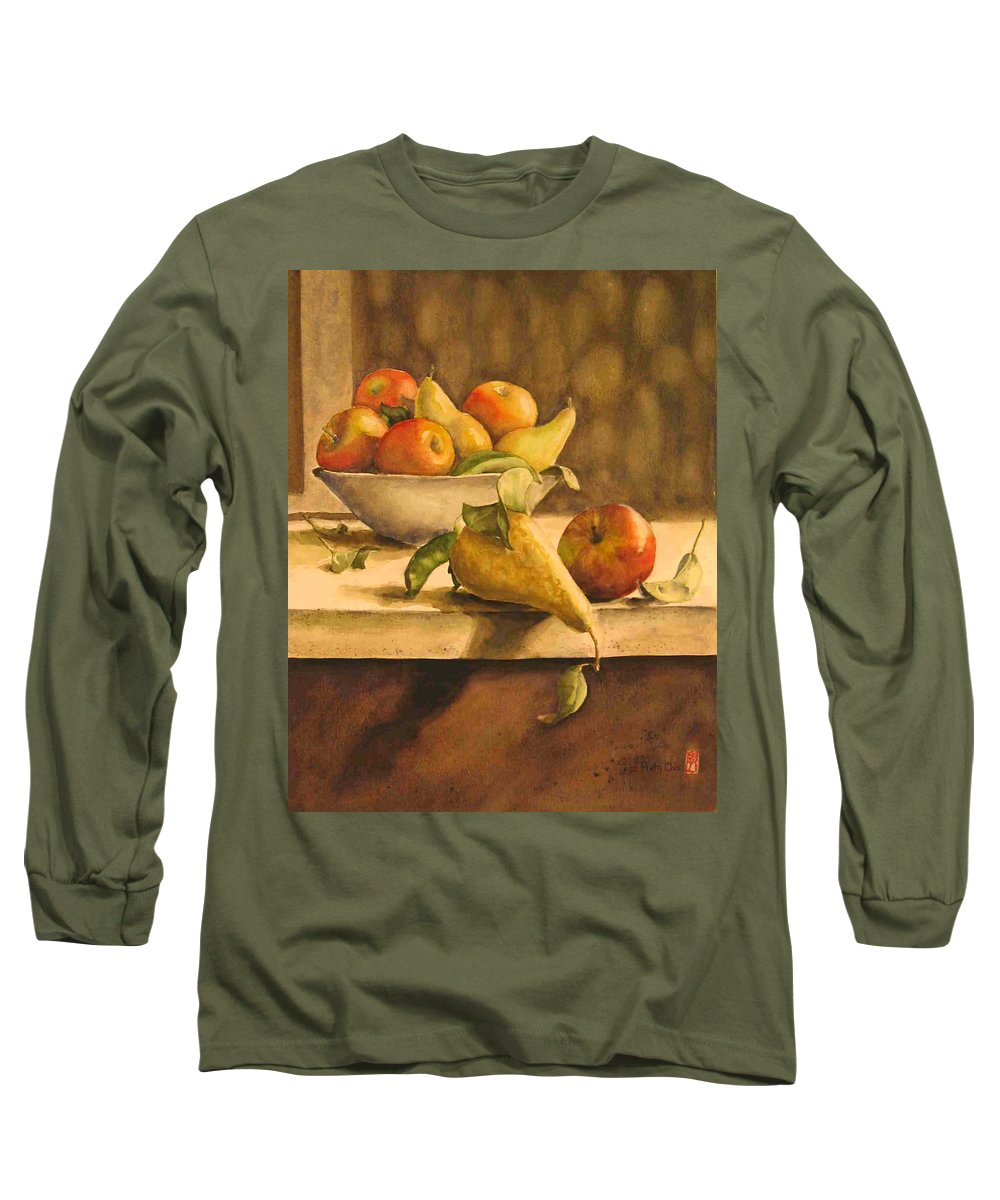 Still-life Long Sleeve T-Shirt featuring the painting Still-life With Apples And Pears by Piety Choi