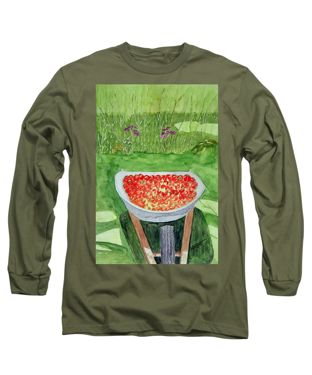 Rural Paintings Long Sleeve T-Shirt featuring the painting Summer Bounty by Larry Wright