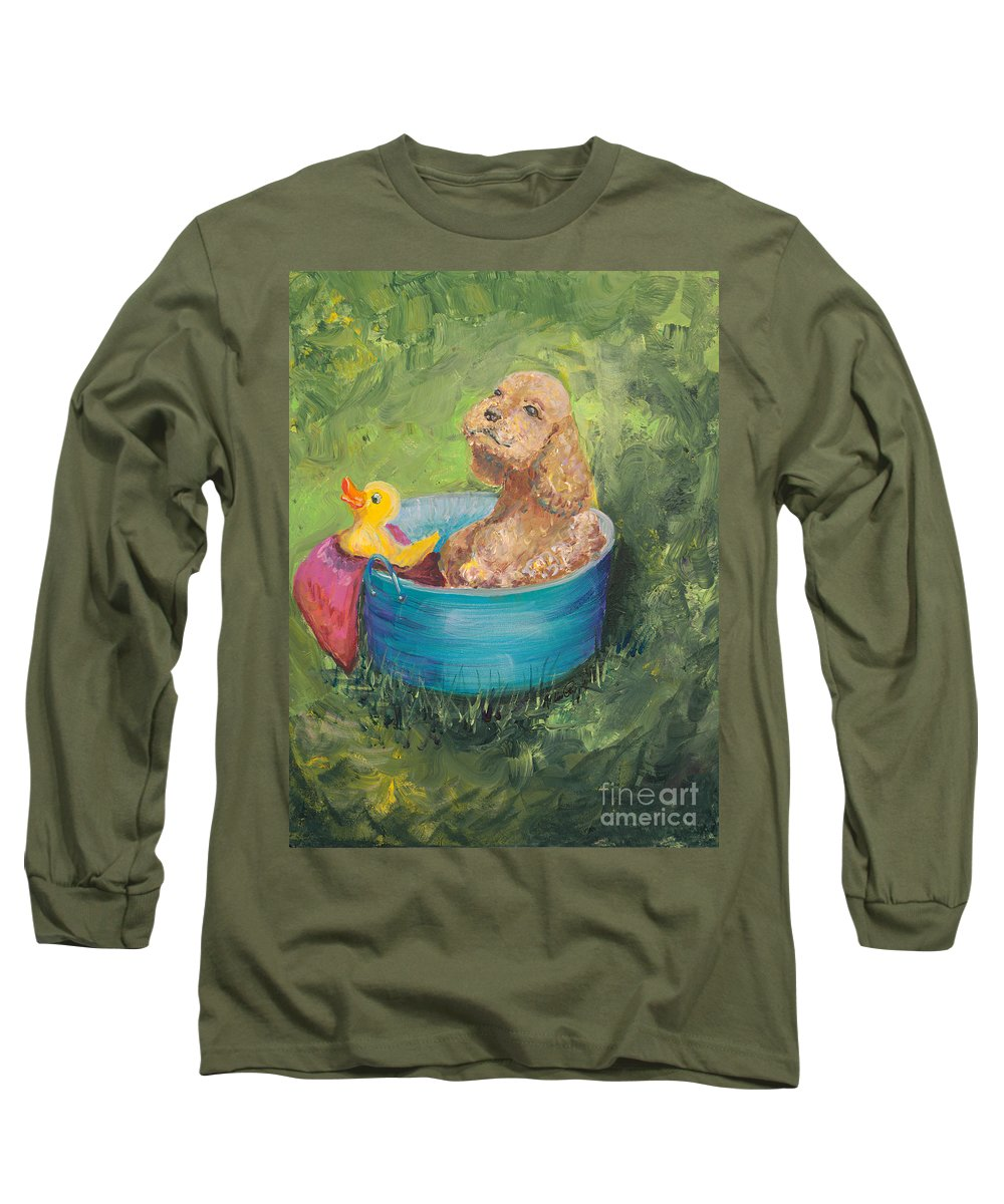 Dog Long Sleeve T-Shirt featuring the painting Summer Fun by Nadine Rippelmeyer