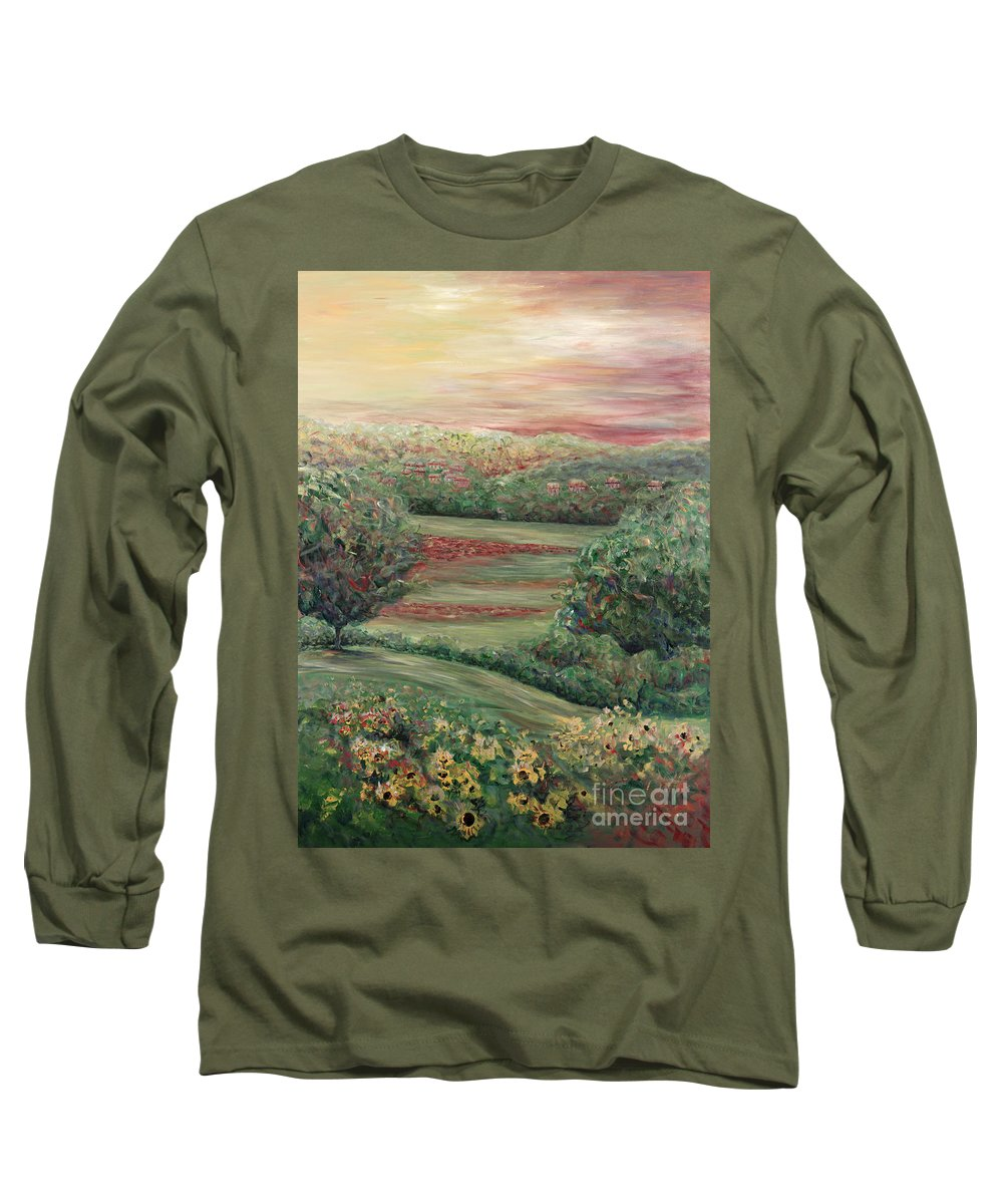 Landscape Long Sleeve T-Shirt featuring the painting Summer In Tuscany by Nadine Rippelmeyer