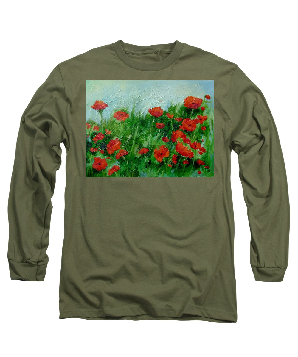 Red Poppies Long Sleeve T-Shirt featuring the painting Summer Poppies by Ginger Concepcion