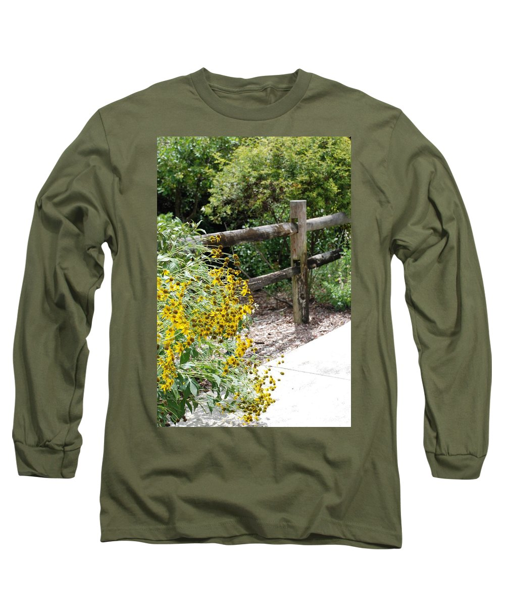 Macro Long Sleeve T-Shirt featuring the photograph Sun Flower Fence by Rob Hans