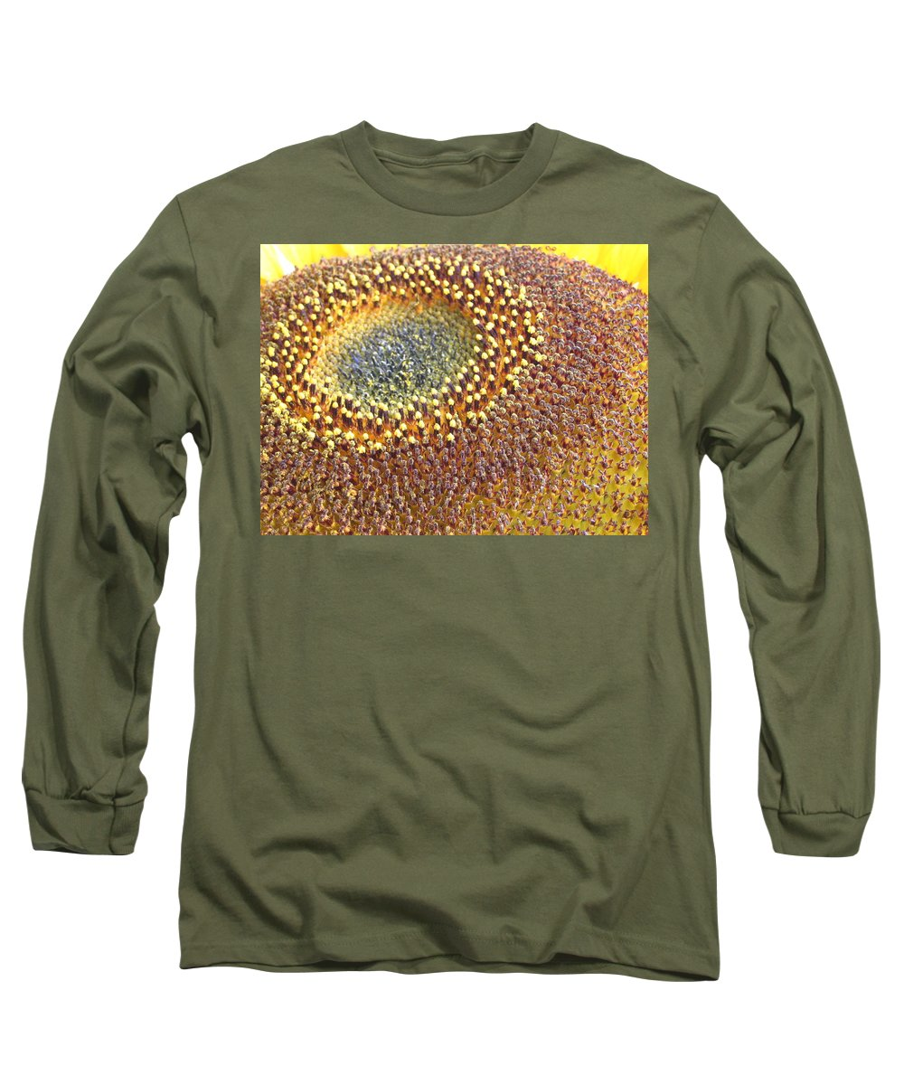 Sunflower Long Sleeve T-Shirt featuring the photograph Sunflower Heart by Line Gagne