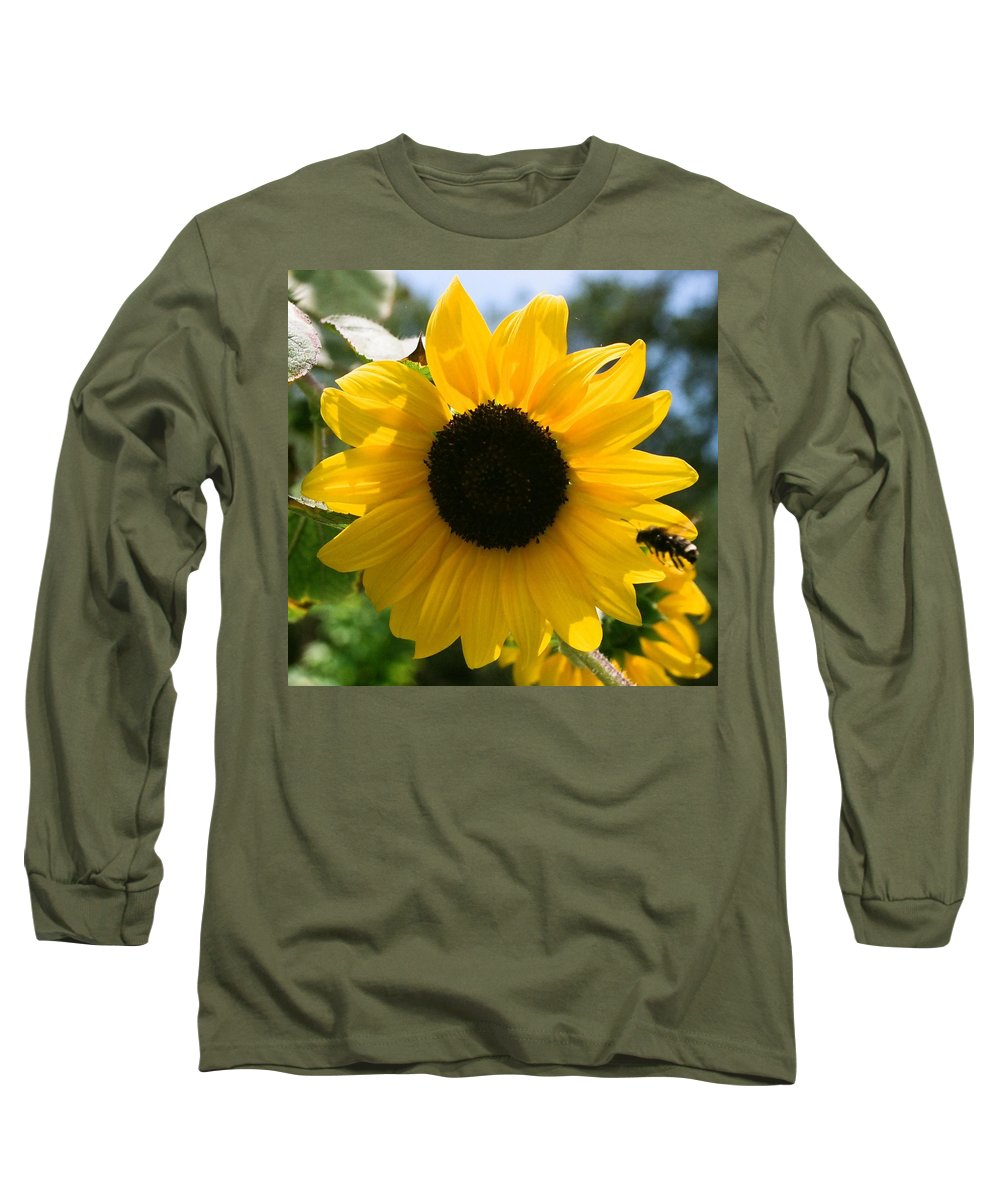 Flower Long Sleeve T-Shirt featuring the photograph Sunflower With Bee by Dean Triolo